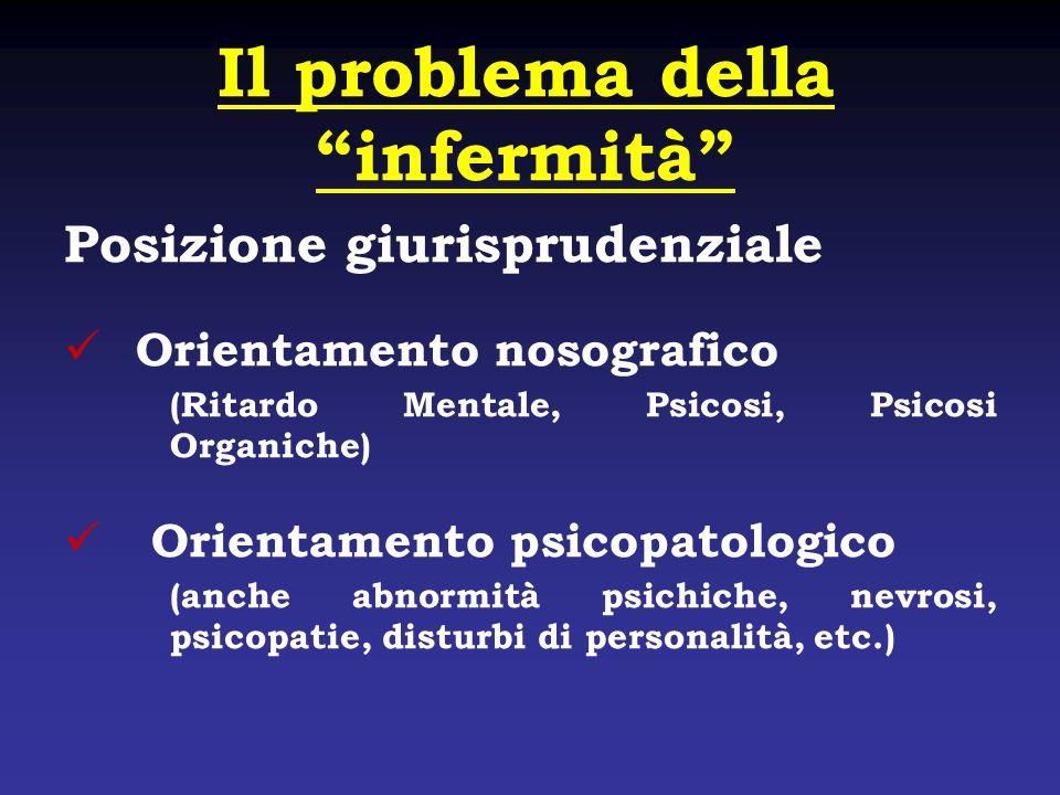 Il problema della infermità Posizione giurisprudenziale Orientamento nosografico (Ritardo Mentale, Psicosi, Psicosi Organiche) Orientamento psicopatol