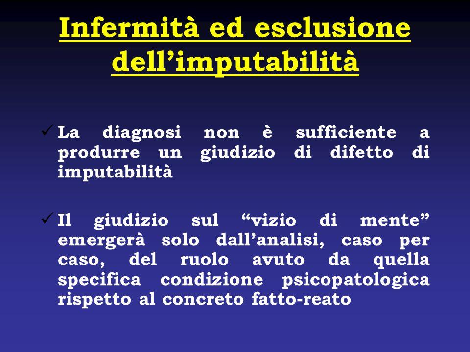 Infermità ed esclusione dellimputabilità La diagnosi non è sufficiente a produrre un giudizio di difetto di imputabilità Il giudizio sul vizio di ment