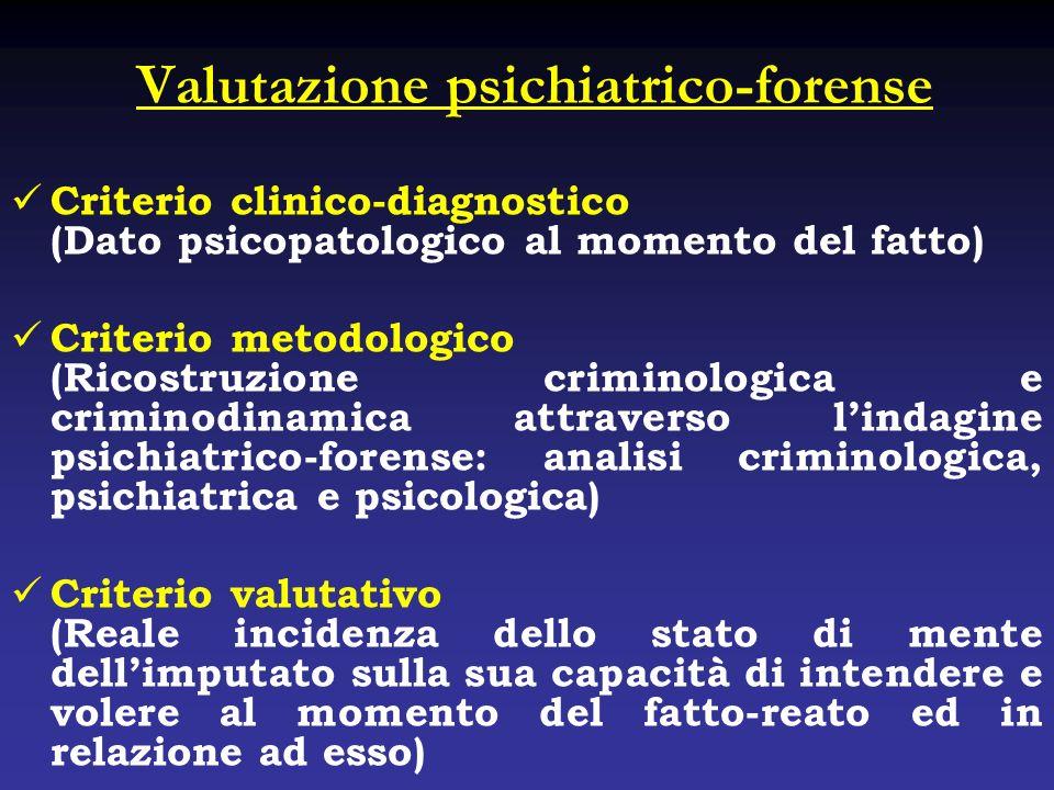 Valutazione psichiatrico-forense Criterio clinico-diagnostico (Dato psicopatologico al momento del fatto) Criterio metodologico (Ricostruzione crimino