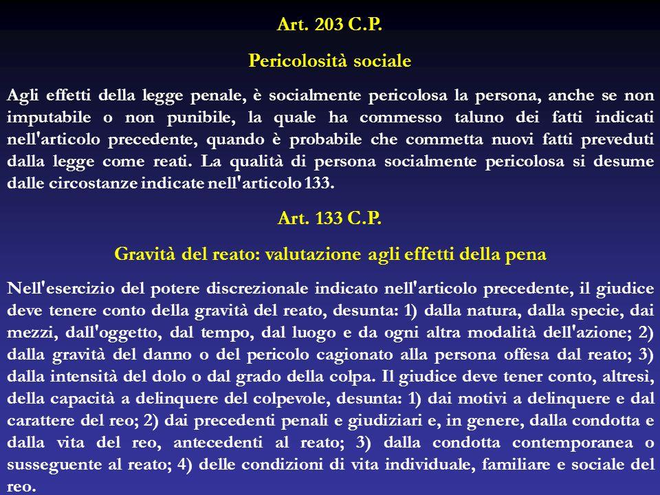 Art. 203 C.P. Pericolosità sociale Agli effetti della legge penale, è socialmente pericolosa la persona, anche se non imputabile o non punibile, la qu