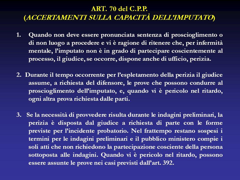 ART. 70 del C.P.P. (ACCERTAMENTI SULLA CAPACITÀ DELLIMPUTATO) 1.Quando non deve essere pronunciata sentenza di proscioglimento o di non luogo a proced