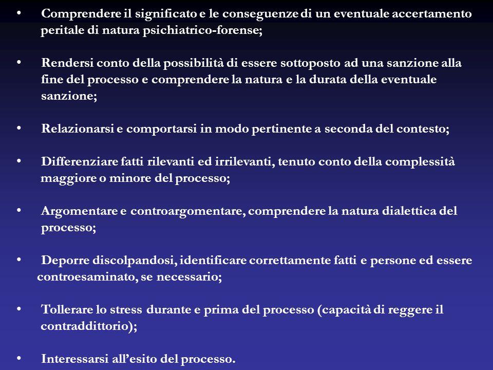 Comprendere il significato e le conseguenze di un eventuale accertamento peritale di natura psichiatrico-forense; Rendersi conto della possibilità di