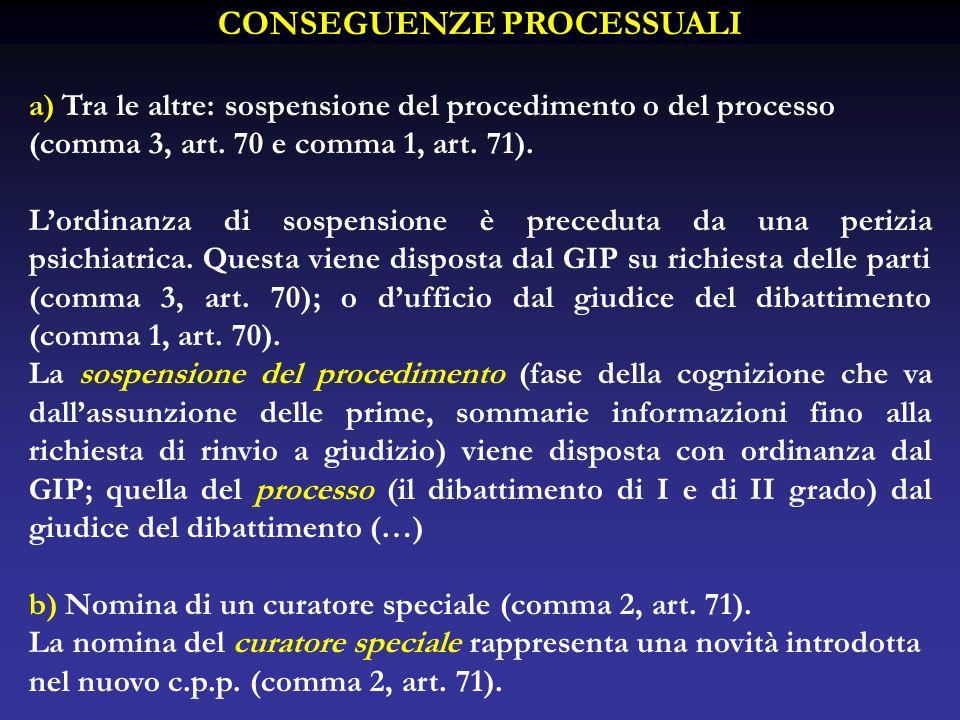 CONSEGUENZE PROCESSUALI a) Tra le altre: sospensione del procedimento o del processo (comma 3, art. 70 e comma 1, art. 71). Lordinanza di sospensione