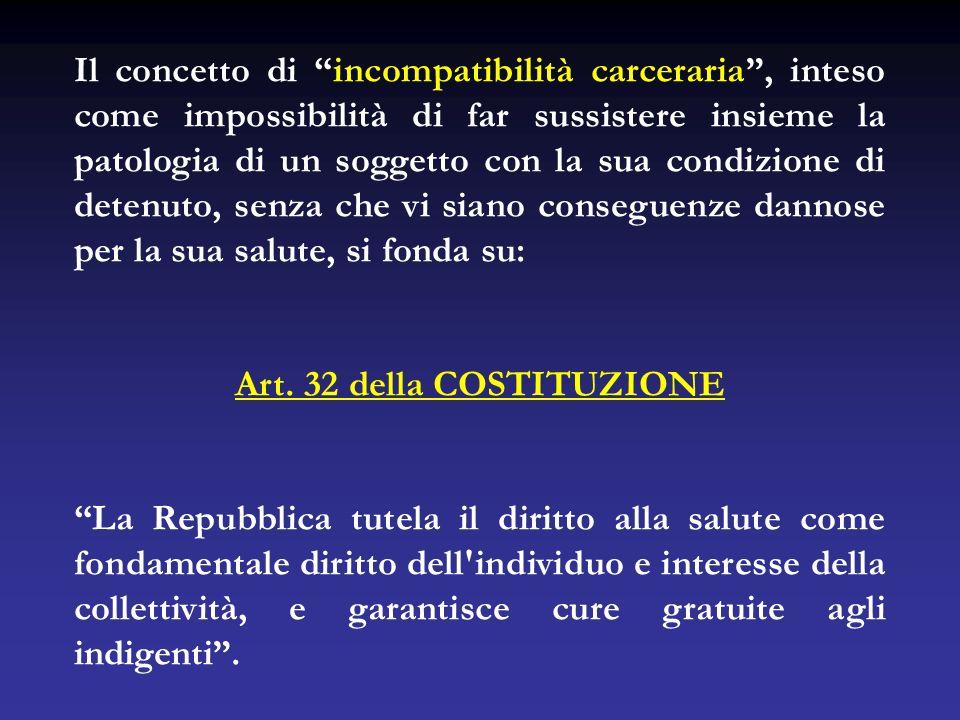 Il concetto di incompatibilità carceraria, inteso come impossibilità di far sussistere insieme la patologia di un soggetto con la sua condizione di de