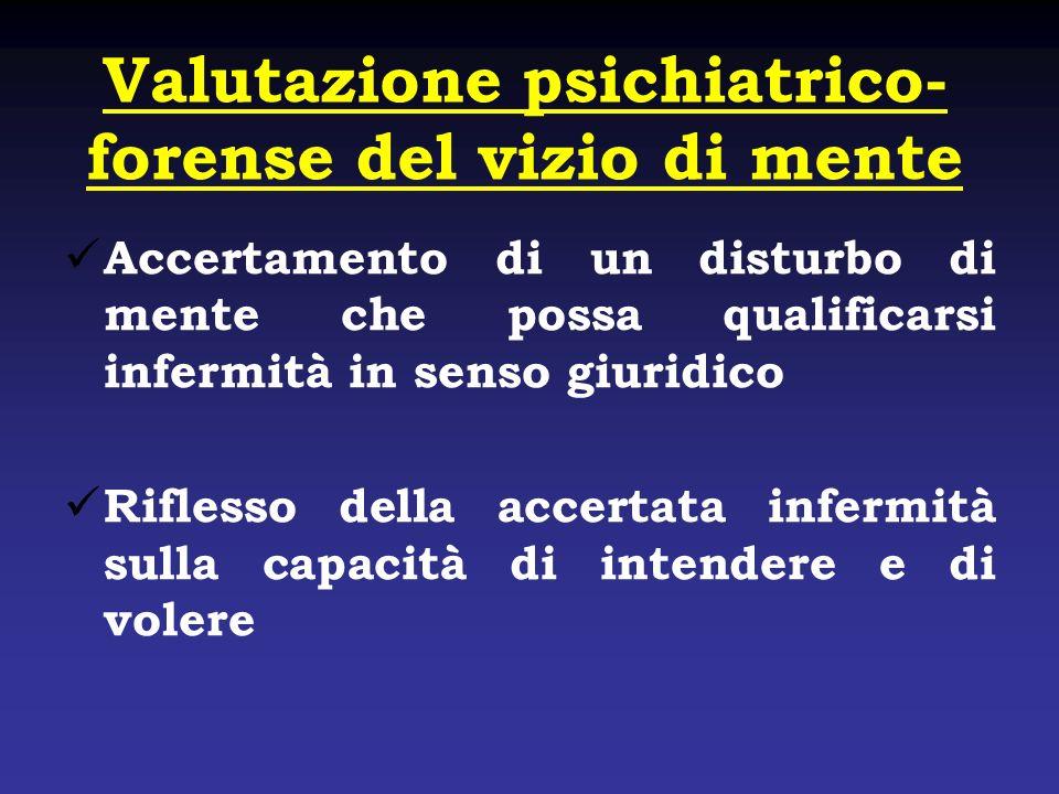 Valutazione psichiatrico- forense del vizio di mente Accertamento di un disturbo di mente che possa qualificarsi infermità in senso giuridico Riflesso