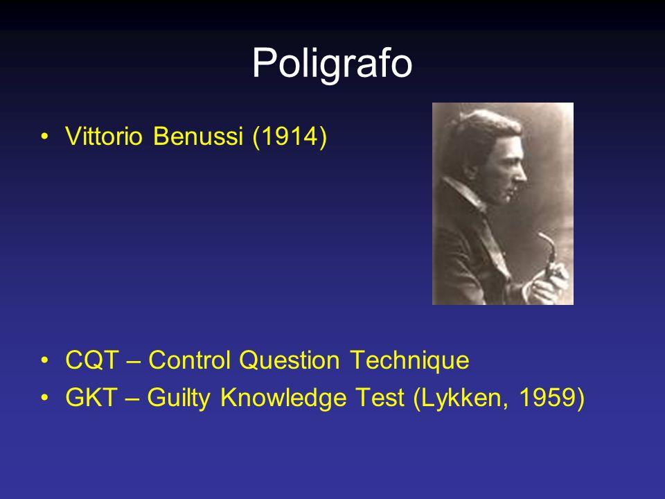 Poligrafo Vittorio Benussi (1914) CQT – Control Question Technique GKT – Guilty Knowledge Test (Lykken, 1959)
