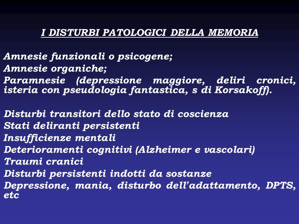 I DISTURBI PATOLOGICI DELLA MEMORIA Amnesie funzionali o psicogene; Amnesie organiche; Paramnesie (depressione maggiore, deliri cronici, isteria con p