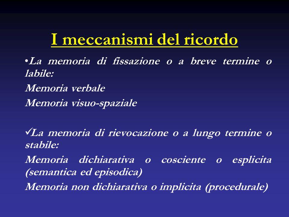 I meccanismi del ricordo La memoria di fissazione o a breve termine o labile: Memoria verbale Memoria visuo-spaziale La memoria di rievocazione o a lu