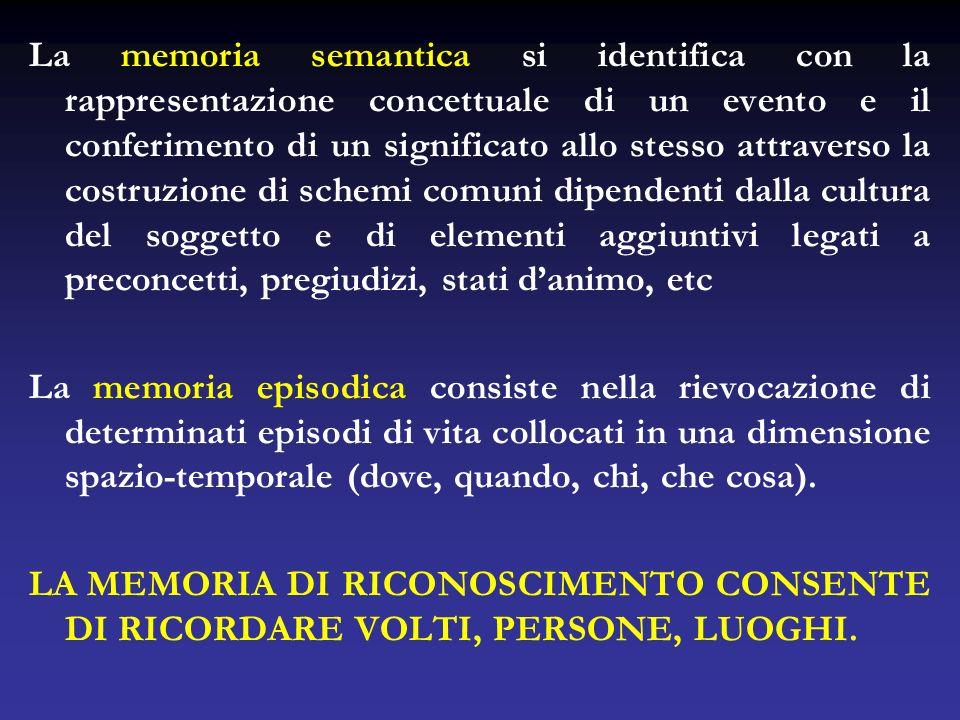 La memoria semantica si identifica con la rappresentazione concettuale di un evento e il conferimento di un significato allo stesso attraverso la cost