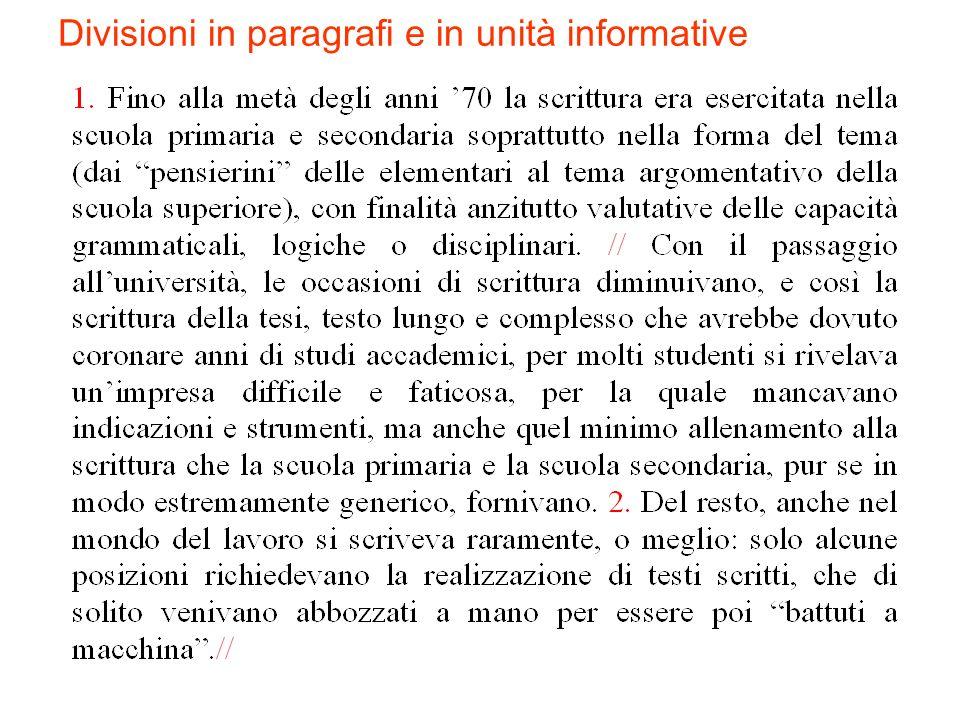 Divisioni in paragrafi e in unità informative