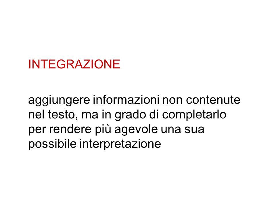 INTEGRAZIONE aggiungere informazioni non contenute nel testo, ma in grado di completarlo per rendere più agevole una sua possibile interpretazione