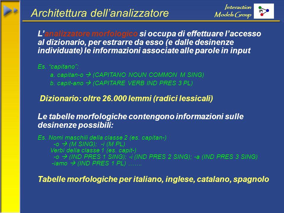 Interaction Models Group Architettura dellanalizzatore Lanalizzatore morfologico si occupa di effettuare laccesso al dizionario, per estrarre da esso