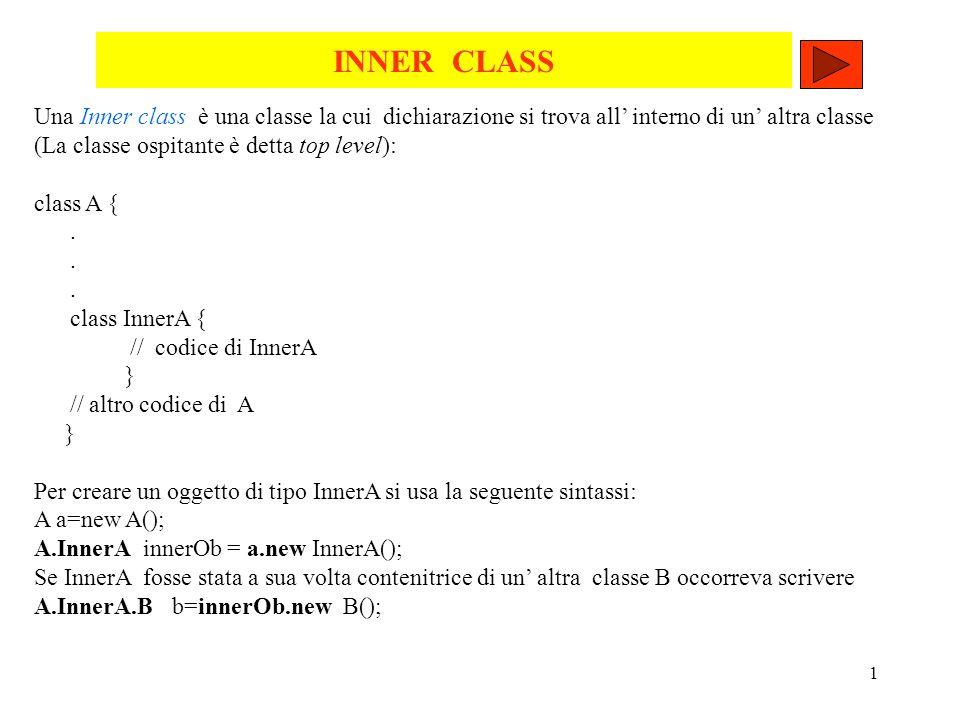 1 INNER CLASS Una Inner class è una classe la cui dichiarazione si trova all interno di un altra classe (La classe ospitante è detta top level): class A {.