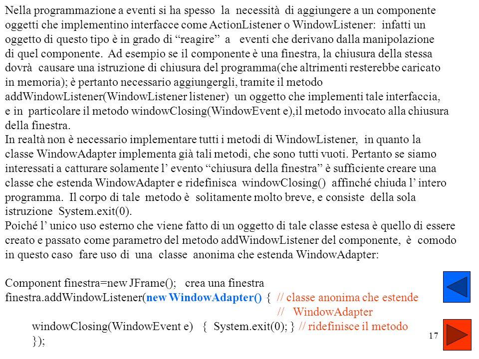 16 La sintassi generale delle classi anonime è new SupeType( ) { // corpo della classe anonima } SuperType è una interfaccia(allora la classe anonima