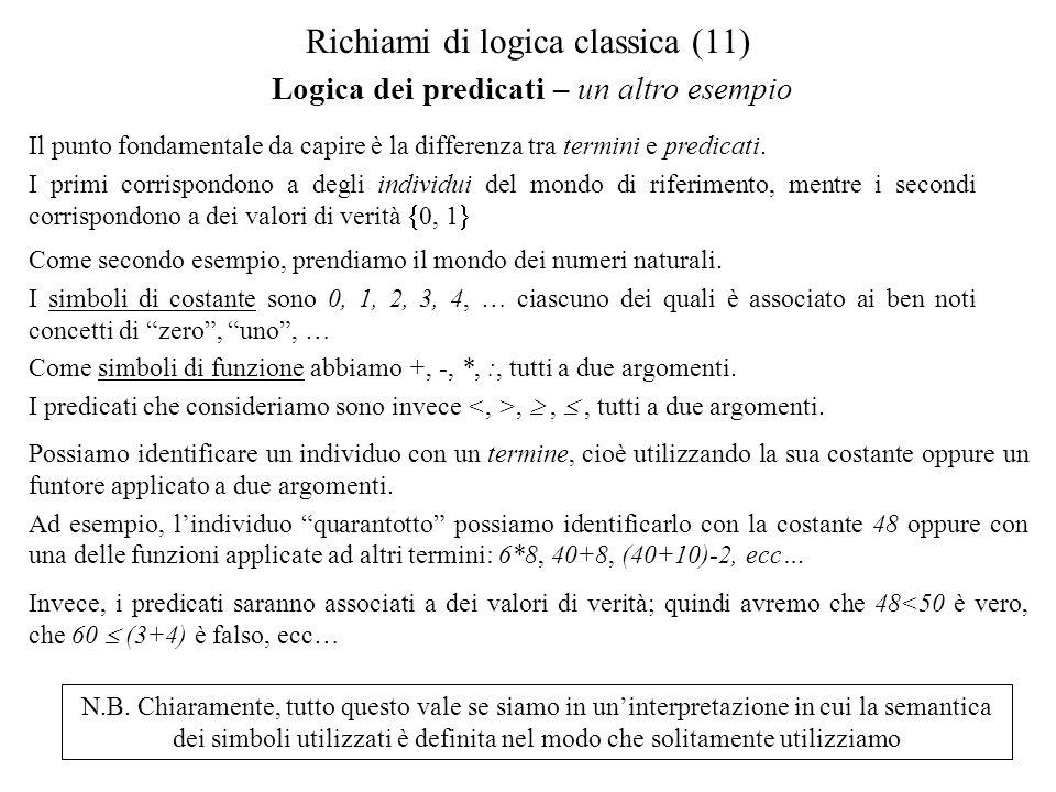 Logica dei predicati – un altro esempio Richiami di logica classica (11) Il punto fondamentale da capire è la differenza tra termini e predicati.