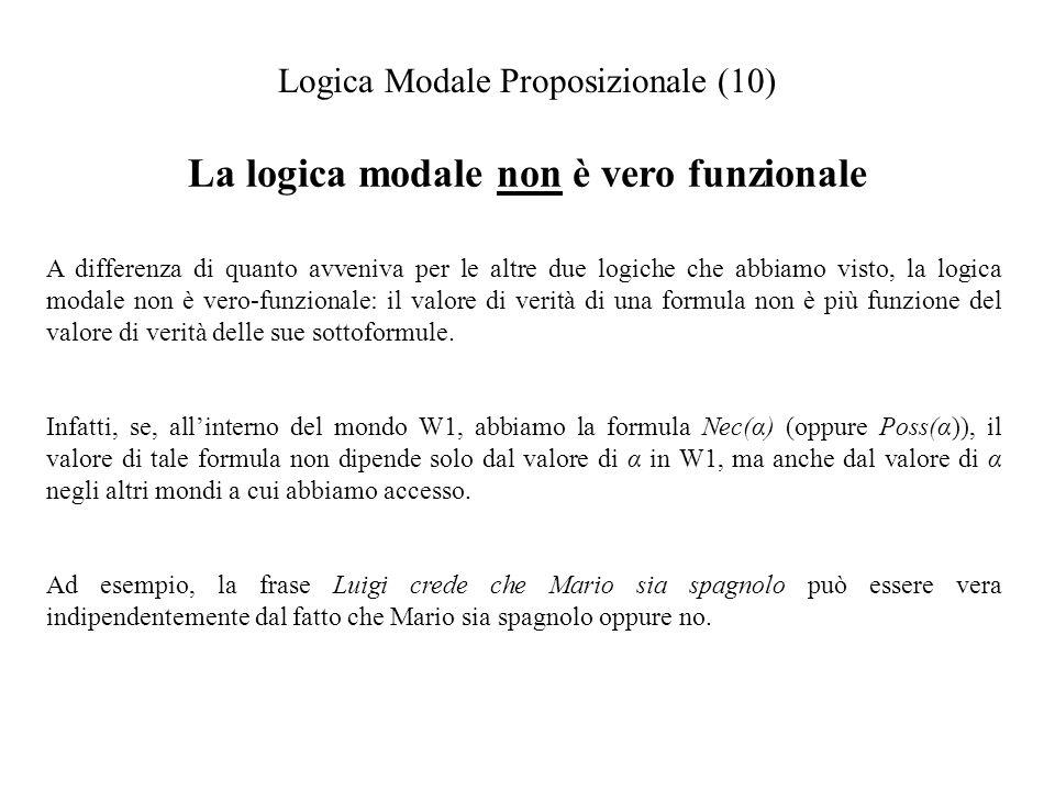 La logica modale non è vero funzionale Logica Modale Proposizionale (10) A differenza di quanto avveniva per le altre due logiche che abbiamo visto, la logica modale non è vero-funzionale: il valore di verità di una formula non è più funzione del valore di verità delle sue sottoformule.