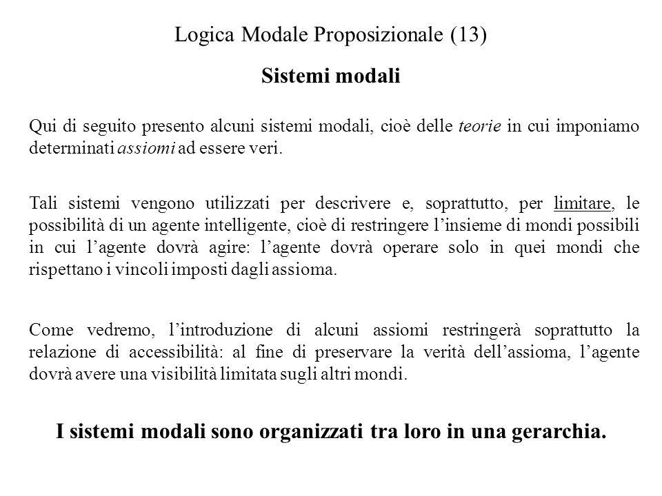 Logica Modale Proposizionale (13) Sistemi modali Qui di seguito presento alcuni sistemi modali, cioè delle teorie in cui imponiamo determinati assiomi ad essere veri.