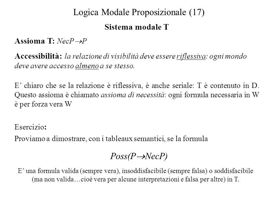 Logica Modale Proposizionale (17) Sistema modale T Assioma T: NecP P Accessibilità: la relazione di visibilità deve essere riflessiva: ogni mondo deve avere accesso almeno a se stesso.