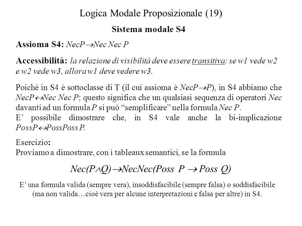 Logica Modale Proposizionale (19) Sistema modale S4 Assioma S4: NecP Nec Nec P Accessibilità: la relazione di visibilità deve essere transitiva: se w1 vede w2 e w2 vede w3, allora w1 deve vedere w3.