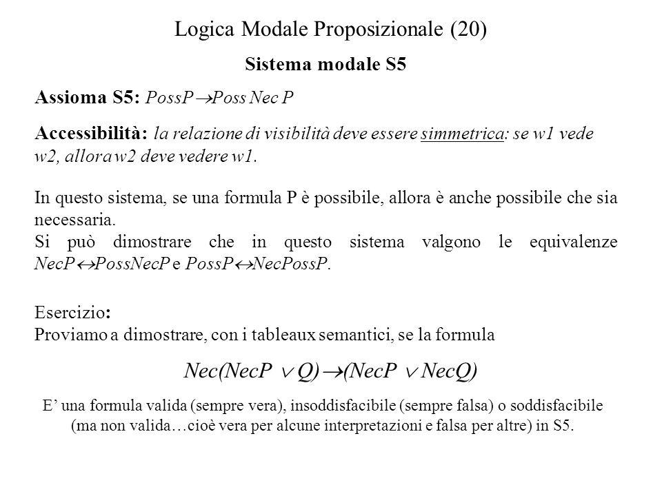 Logica Modale Proposizionale (20) Sistema modale S5 Assioma S5: PossP Poss Nec P Accessibilità: la relazione di visibilità deve essere simmetrica: se w1 vede w2, allora w2 deve vedere w1.