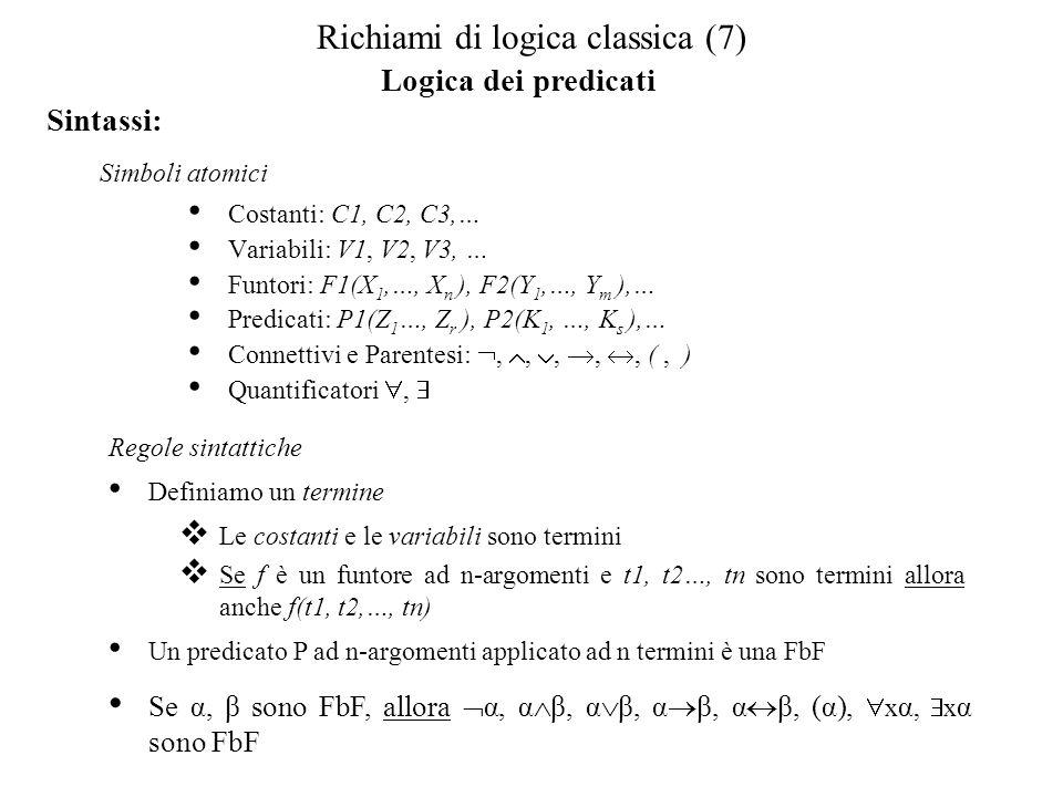 Semantica: La semantica viene definita rispetto ad un mondo di riferimento D In questo caso, uninterpretazione è una funzione che associa… Ad ogni costante un individuo d D Ad ogni funtore ad n argomenti, una funzione f:D n D Ad ogni predicato ad n argomenti una relazione R D n.