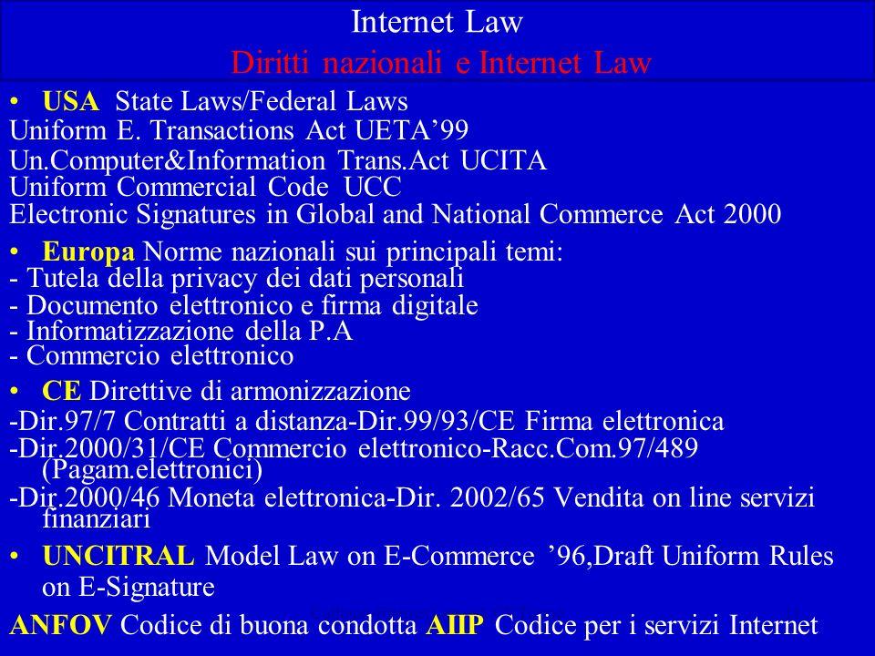 Calliano-Internet Law-CUCE Torino11 Internet Law Diritti nazionali e Internet Law USA State Laws/Federal Laws Uniform E. Transactions Act UETA99 Un.Co