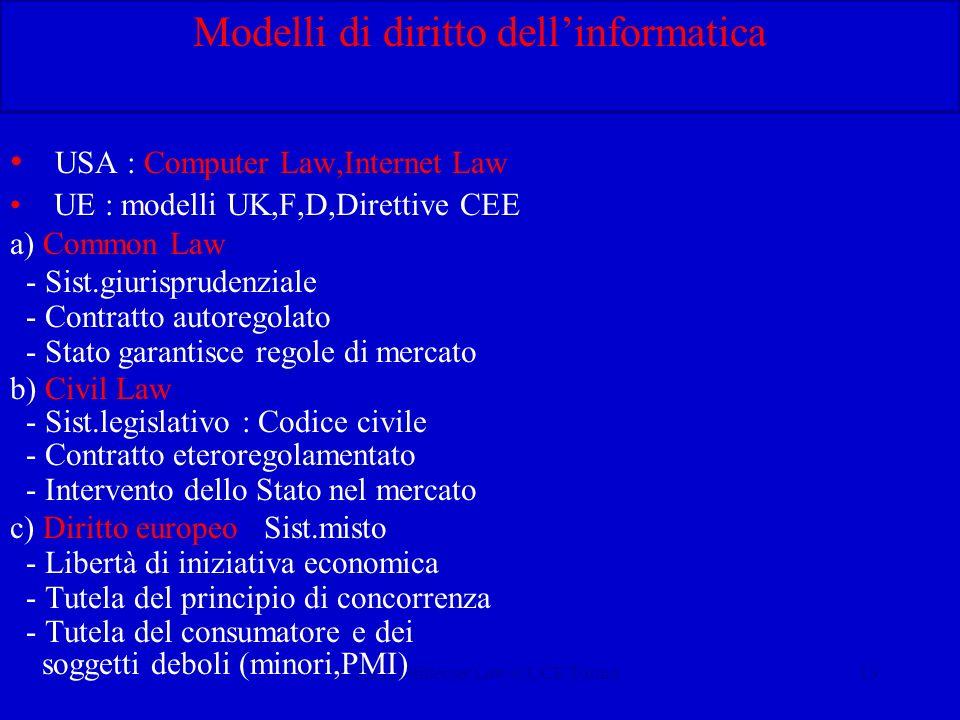Calliano-Internet Law-CUCE Torino13 Modelli di diritto dellinformatica USA : Computer Law,Internet Law UE : modelli UK,F,D,Direttive CEE a) Common Law