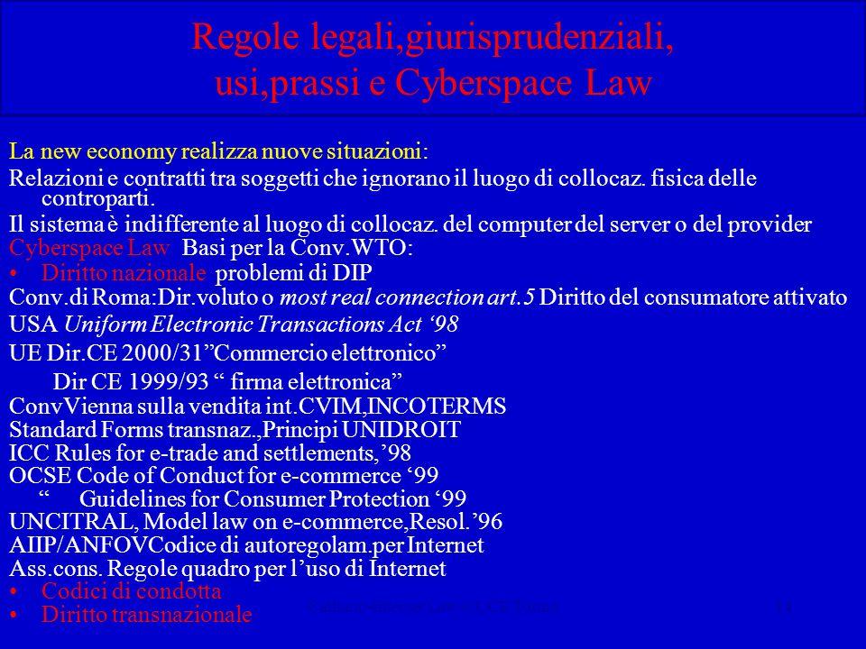 Calliano-Internet Law-CUCE Torino14 Regole legali,giurisprudenziali, usi,prassi e Cyberspace Law La new economy realizza nuove situazioni: Relazioni e