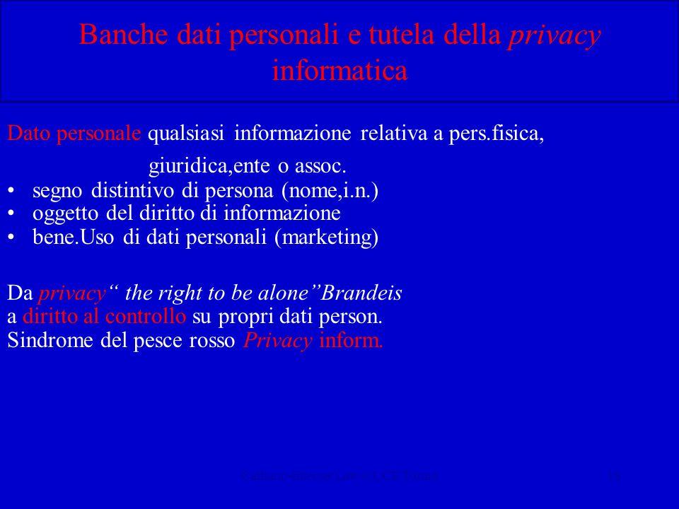 Calliano-Internet Law-CUCE Torino18 Banche dati personali e tutela della privacy informatica Dato personale:qualsiasi informazione relativa a pers.fis