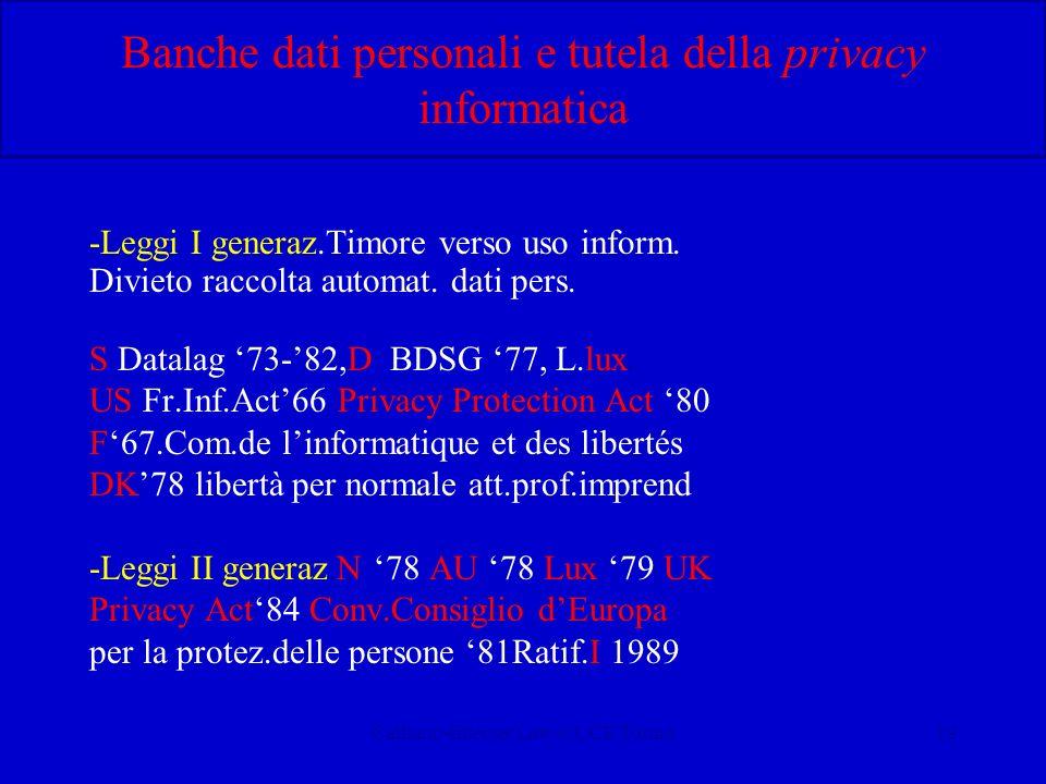 Calliano-Internet Law-CUCE Torino19 Banche dati personali e tutela della privacy informatica -Leggi I generaz.Timore verso uso inform. Divieto raccolt