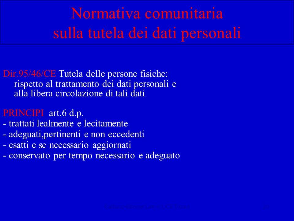 Calliano-Internet Law-CUCE Torino20 Normativa comunitaria sulla tutela dei dati personali Dir.95/46/CE Tutela delle persone fisiche: rispetto al trattamento dei dati personali e alla libera circolazione di tali dati PRINCIPI: art.6 d.p.