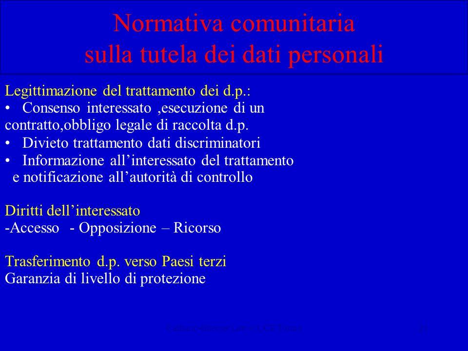 Calliano-Internet Law-CUCE Torino21 Normativa comunitaria sulla tutela dei dati personali Legittimazione del trattamento dei d.p.: Consenso interessato,esecuzione di un contratto,obbligo legale di raccolta d.p.
