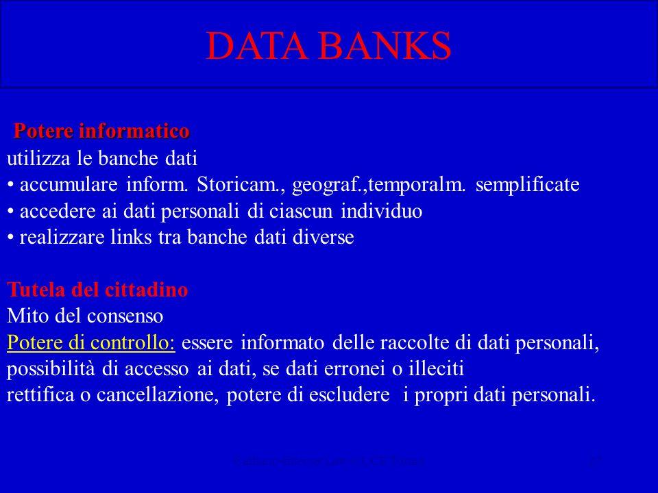 Calliano-Internet Law-CUCE Torino27 Potere informatico utilizza le banche dati accumulare inform. Storicam., geograf.,temporalm. semplificate accedere