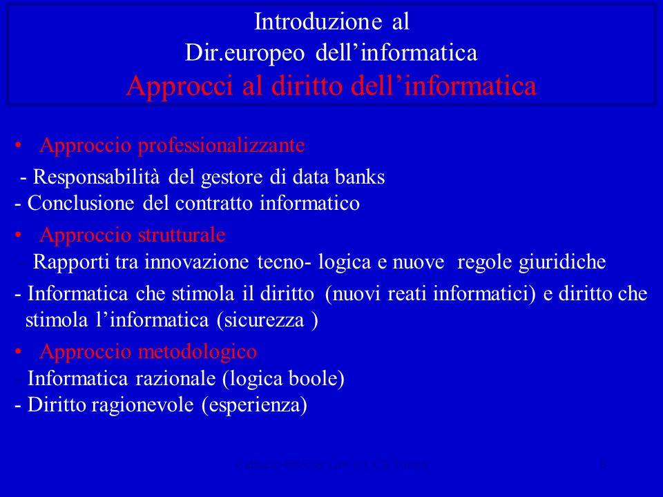 Calliano-Internet Law-CUCE Torino4 Introduzione al Dir.europeo dellinformatica Diritto e informatica giuridica - Giurimetria (Loevinger, Wiener 48) -Giuscibernetica (Losano 85) - Modellistica giuridica: Diritto come - Sottosistema sociale - Sist.cibernetico a retroazione - Informatica giuridica: Diritto come - Sist.logico-formale (giurimetria) - Oggetto di tecnologie informatiche (giuritecnica) a) D.come oggetto dellinformatica Informatica giuridica – dottrinale - amministrativa - giudiziaria b) Inform.come oggetto del diritto Diritto dellinformatica:Diritto dellinformazione