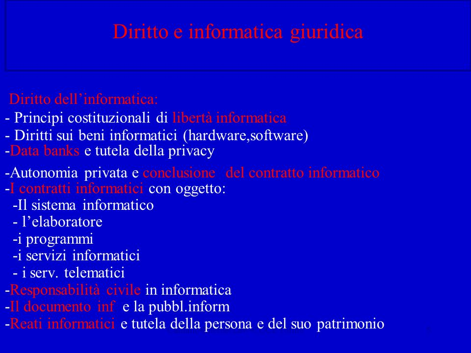 Calliano-Internet Law-CUCE Torino5 Diritto e informatica giuridica Diritto dellinformatica: - Principi costituzionali di libertà informatica - Diritti