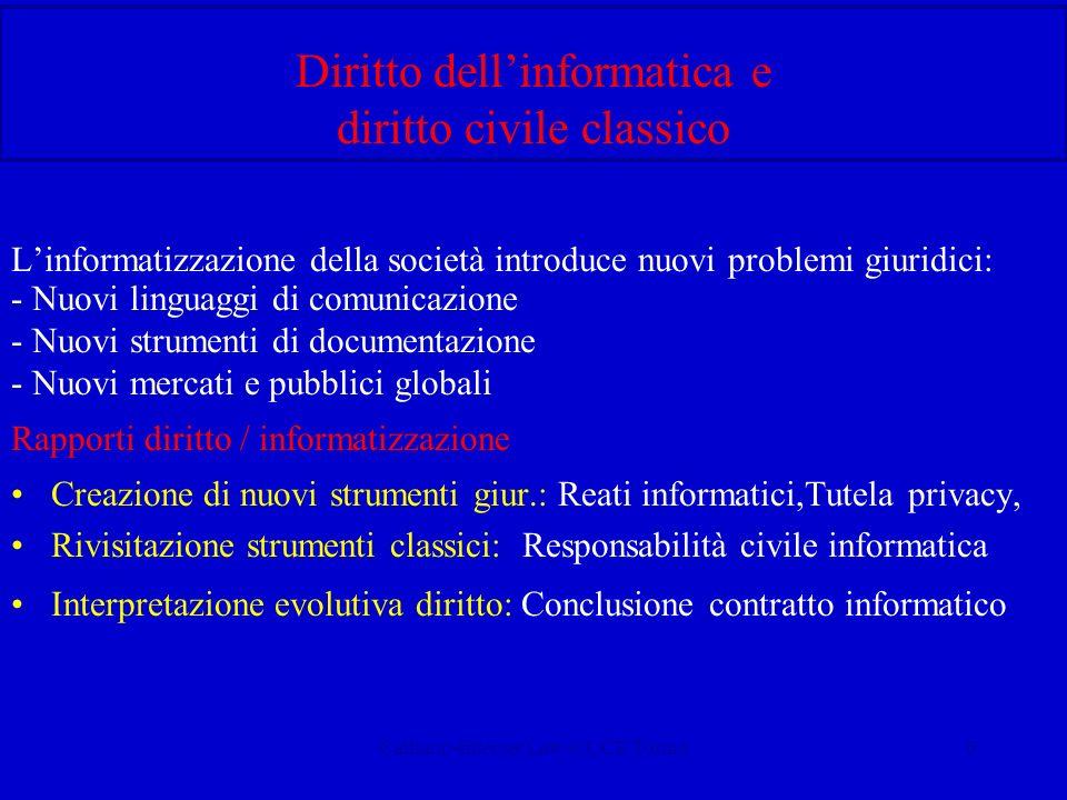 Calliano-Internet Law-CUCE Torino6 Diritto dellinformatica e diritto civile classico Linformatizzazione della società introduce nuovi problemi giuridi