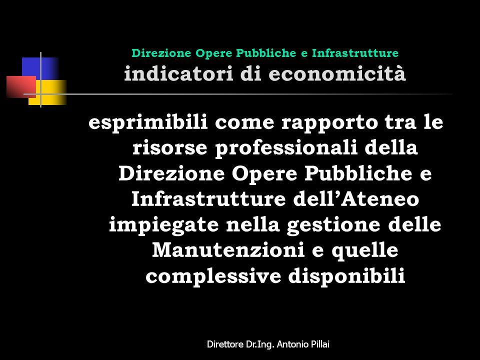 Direttore Dr.Ing. Antonio Pillai Direzione Opere Pubbliche e Infrastrutture indicatori di economicità esprimibili come rapporto tra le risorse profess