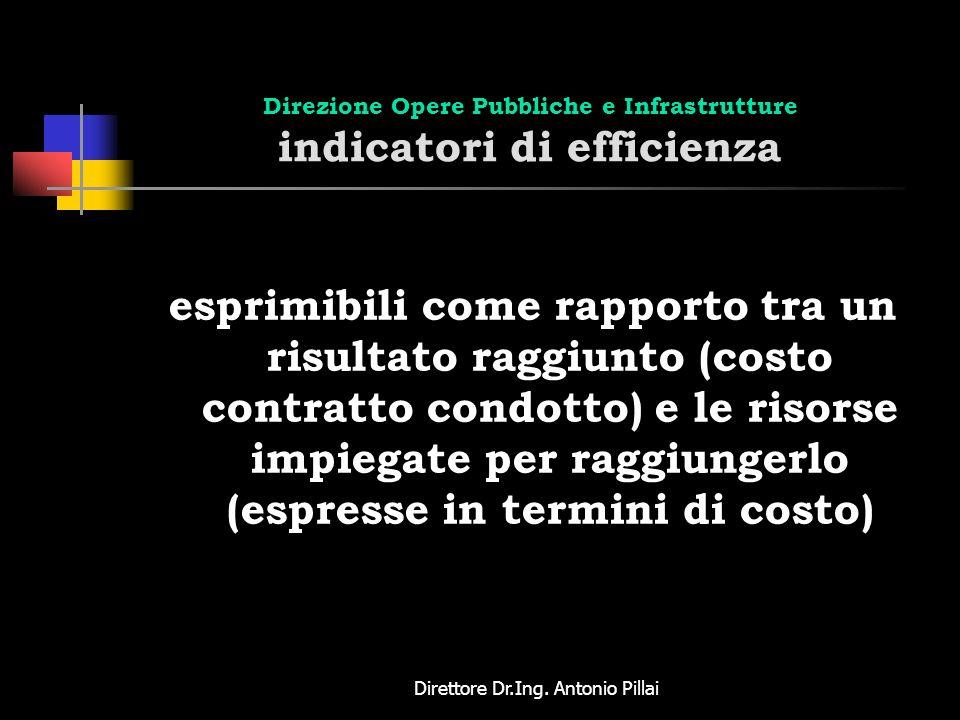 Direttore Dr.Ing. Antonio Pillai Direzione Opere Pubbliche e Infrastrutture indicatori di efficienza esprimibili come rapporto tra un risultato raggiu