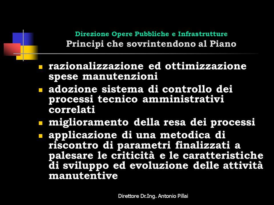 Direttore Dr.Ing. Antonio Pillai Direzione Opere Pubbliche e Infrastrutture Principi che sovrintendono al Piano razionalizzazione ed ottimizzazione sp