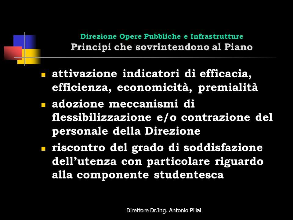 Direttore Dr.Ing. Antonio Pillai Direzione Opere Pubbliche e Infrastrutture Principi che sovrintendono al Piano attivazione indicatori di efficacia, e