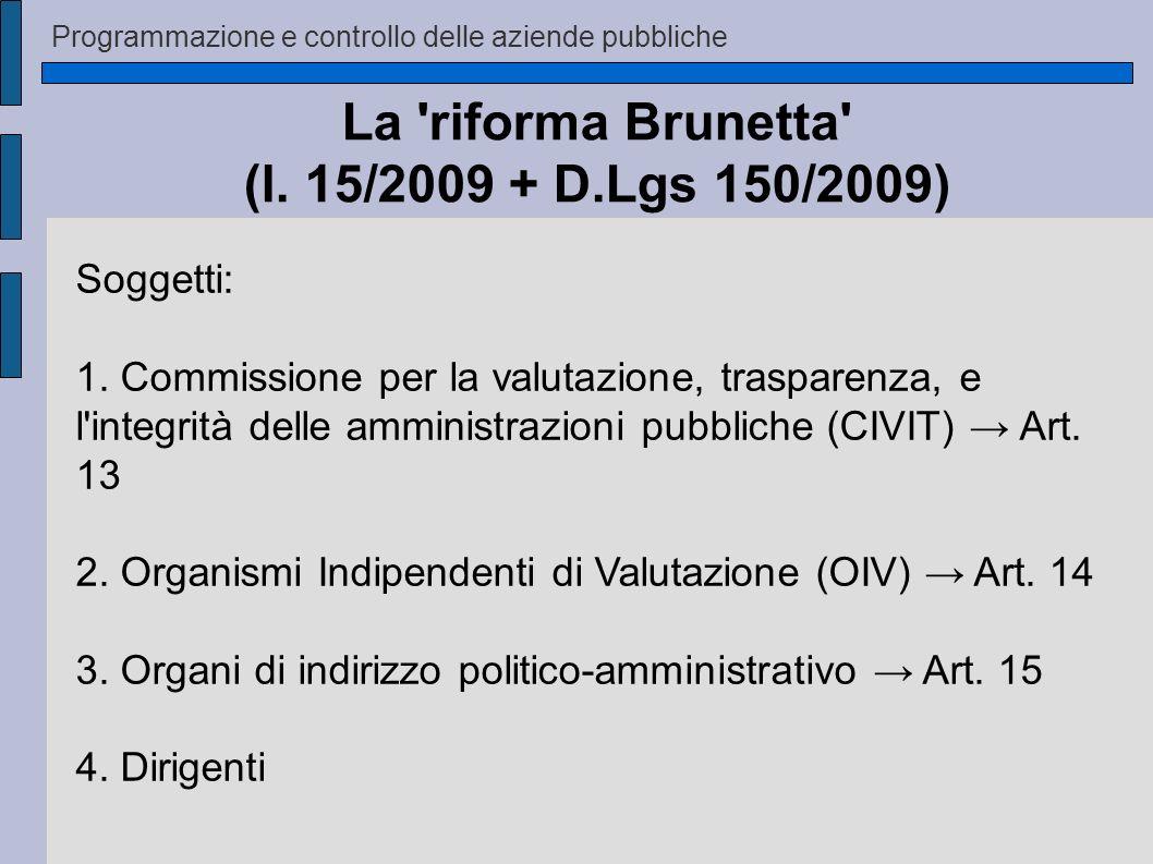 Programmazione e controllo delle aziende pubbliche La 'riforma Brunetta' (l. 15/2009 + D.Lgs 150/2009) Soggetti: 1. Commissione per la valutazione, tr