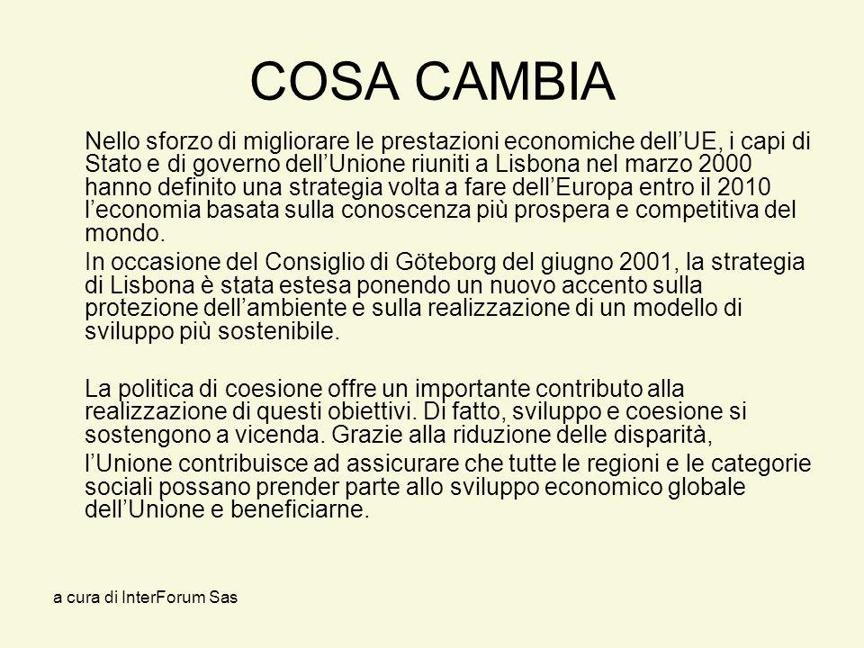 a cura di InterForum Sas COSA CAMBIA Nello sforzo di migliorare le prestazioni economiche dellUE, i capi di Stato e di governo dellUnione riuniti a Lisbona nel marzo 2000 hanno definito una strategia volta a fare dellEuropa entro il 2010 leconomia basata sulla conoscenza più prospera e competitiva del mondo.