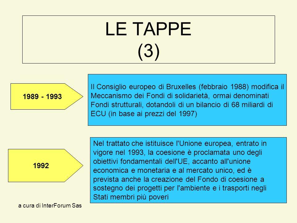 a cura di InterForum Sas LE TAPPE (3) Nel trattato che istituisce l Unione europea, entrato in vigore nel 1993, la coesione è proclamata uno degli obiettivi fondamentali dell UE, accanto all unione economica e monetaria e al mercato unico, ed è prevista anche la creazione del Fondo di coesione a sostegno dei progetti per l ambiente e i trasporti negli Stati membri più poveri Il Consiglio europeo di Bruxelles (febbraio 1988) modifica il Meccanismo dei Fondi di solidarietà, ormai denominati Fondi strutturali, dotandoli di un bilancio di 68 miliardi di ECU (in base ai prezzi del 1997) 1989 - 1993 1992