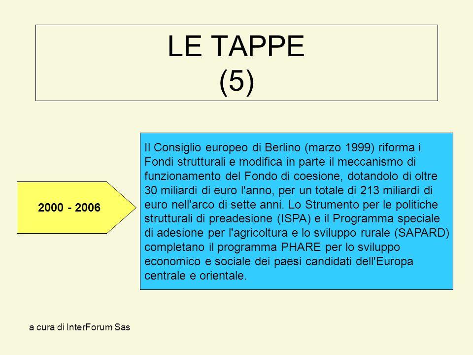 a cura di InterForum Sas LE TAPPE (5) Il Consiglio europeo di Berlino (marzo 1999) riforma i Fondi strutturali e modifica in parte il meccanismo di funzionamento del Fondo di coesione, dotandolo di oltre 30 miliardi di euro l anno, per un totale di 213 miliardi di euro nell arco di sette anni.