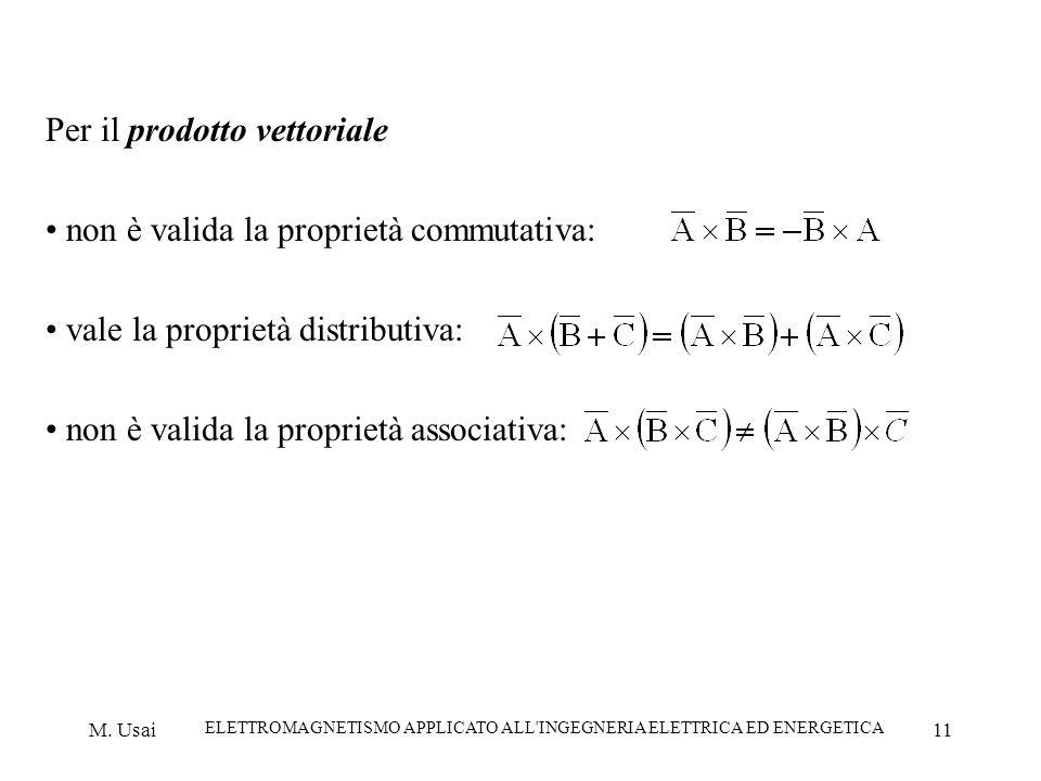 M. Usai ELETTROMAGNETISMO APPLICATO ALL'INGEGNERIA ELETTRICA ED ENERGETICA 11 Per il prodotto vettoriale non è valida la proprietà commutativa: vale l