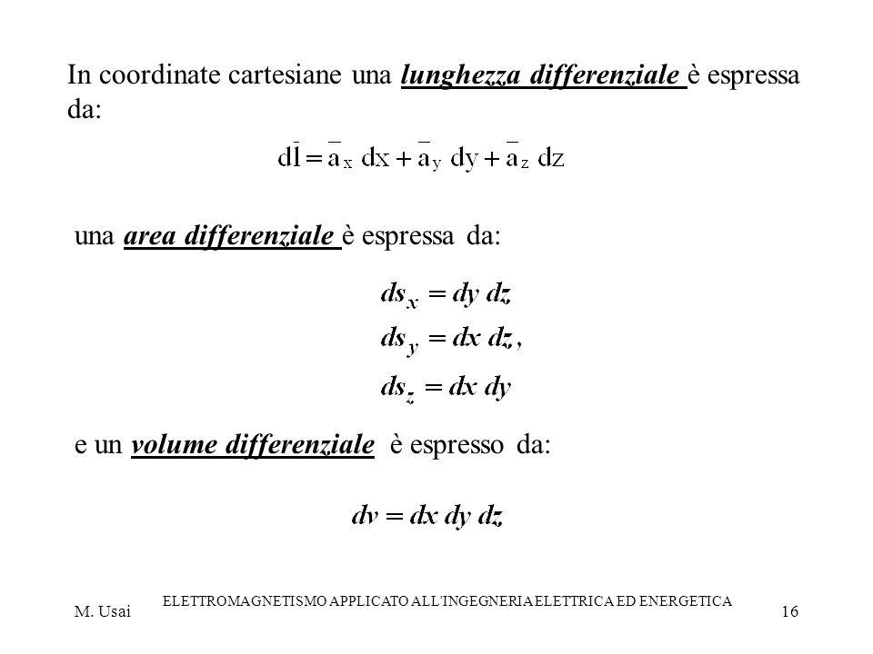 M. Usai ELETTROMAGNETISMO APPLICATO ALL'INGEGNERIA ELETTRICA ED ENERGETICA 16 In coordinate cartesiane una lunghezza differenziale è espressa da: una