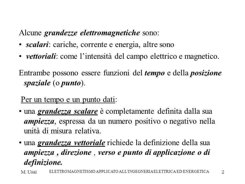 M. Usai ELETTROMAGNETISMO APPLICATO ALL'INGEGNERIA ELETTRICA ED ENERGETICA 2 Alcune grandezze elettromagnetiche sono: scalari: cariche, corrente e ene