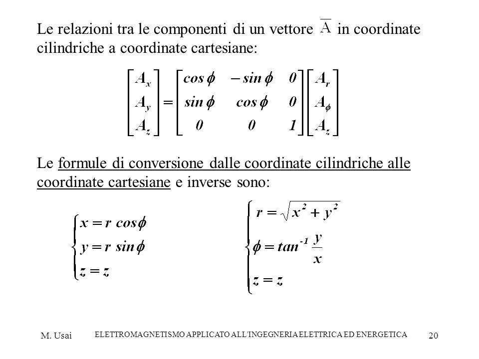 M. Usai ELETTROMAGNETISMO APPLICATO ALL'INGEGNERIA ELETTRICA ED ENERGETICA 20 Le relazioni tra le componenti di un vettore in coordinate cilindriche a