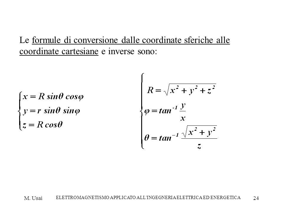 M. Usai ELETTROMAGNETISMO APPLICATO ALL'INGEGNERIA ELETTRICA ED ENERGETICA 24 Le formule di conversione dalle coordinate sferiche alle coordinate cart