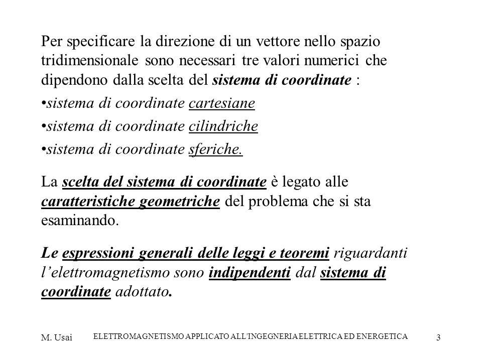 M. Usai ELETTROMAGNETISMO APPLICATO ALL'INGEGNERIA ELETTRICA ED ENERGETICA 3 Per specificare la direzione di un vettore nello spazio tridimensionale s